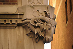 Detailed photograph of an architectural detail, ram's head, on a building in the Upper East Side neighborhood of New York City.