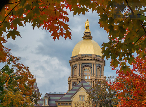Oct. 13, 2014; Golden Dome and fall foliage. (Photo by Matt Cashore/University of Notre Dame)