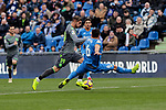 Getafe CF's Leandro Cabrera and Real Sociedad's Theo Hernandez during La Liga match between Getafe CF and Real Sociedad at Coliseum Alfonso Perez in Getafe, Spain. December 15, 2018. (ALTERPHOTOS/A. Perez Meca)