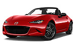 Stock pictures of low aggressive front three quarter view of 2016 Mazda MX-5 Skycruise 2 Door Convertible Low Aggressive