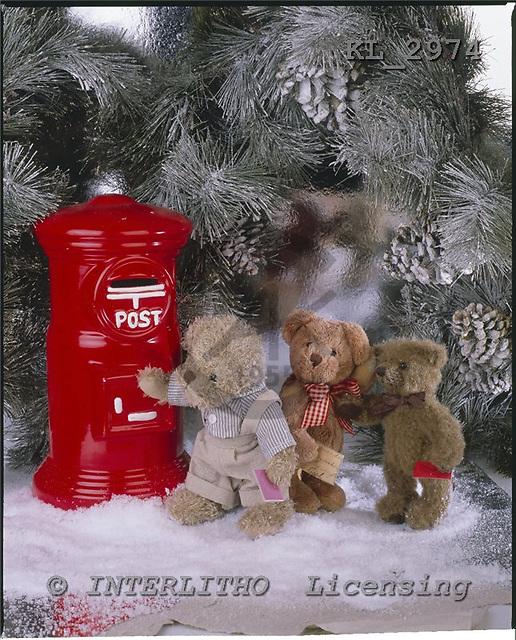 Interlitho, CHRISTMAS ANIMALS, photos+++++,3 teddies,letterbox,KL2974,#xa#