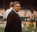 Green Bay Packers head coach Vince Lombardi a game from his career with the Green Bay Packers.  Vince Lombard head coached for 10 years with 2 different teams and won 2 Super Bowls with the Green Bay Packers and  was inducted into the Pro Football Hall of Fame in 1971.(SportPics)