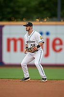 Akron RubberDucks second baseman Tyler Friis (38) during an Eastern League game against the Reading Fightin Phils on June 4, 2019 at Canal Park in Akron, Ohio.  Akron defeated Reading 8-5.  (Mike Janes/Four Seam Images)