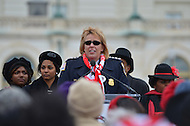 March 3, 2013  (Washington, DC)  D.C. Metropolitan Police Chief Cathy Lanier speaks to Delta Sigma Theta Sorority members on the west front of the U.S. Capitol. The sorority lead a re-enactment of the 1913 Woman's Suffrage March down Pennsylvania Avenue in Washington, D.C.  (Photo by Don Baxter/Media Images International)