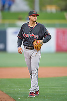 Josh Fuentes (7) of the Albuquerque Isotopes during the game against the Salt Lake Bees at Smith's Ballpark on April 24, 2019 in Salt Lake City, Utah. The Isotopes defeated the Bees 5-4. (Stephen Smith/Four Seam Images)