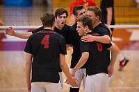 STANFORD, CA - January 2, 2018: Eric Beatty, Russell Dervay, Jacob Thoenen, JP Reilly at Burnham Pavilion. The Stanford Cardinal defeated the Calgary Dinos 3-1.