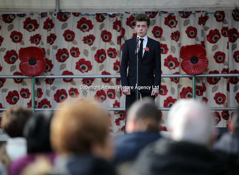 Pictured: A young lyric tenor sings during the service Friday 11 November 2016<br />