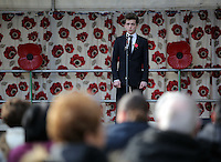 Pictured: A young lyric tenor sings during the service Friday 11 November 2016<br />Re: Remembrance Day service at Castle Square Gardens in Swansea, south Wales, UK.