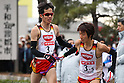 (L to R) Yuki Sato (Nissin Foods), Muryo Takase (Nissin Foods), January 1, 2012 - Athletics : New Year Ekiden 2012, 56th All Japan Industrial Ekiden Race Start & Goal at Gunma Prefecture Goverment, Gunma, Japan. (Photo by Daiju Kitamura/AFLO SPORT) [1045]