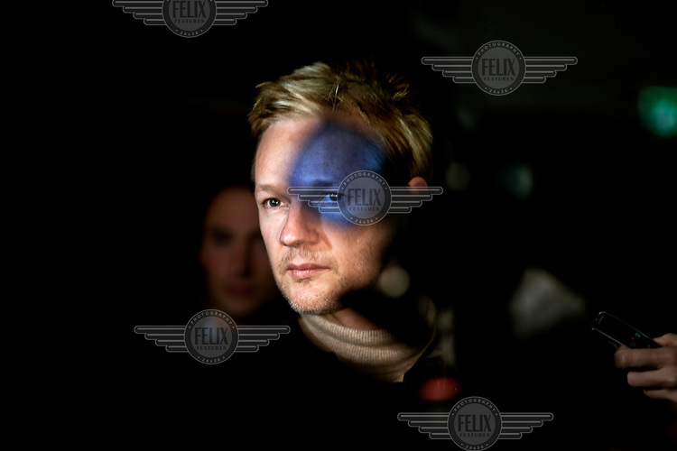 Julian Assange, the founder of Wikileaks, meeting the press after a panel discussion at City University in London.