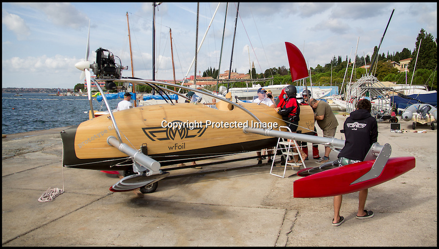 BNPS.co.uk (01202 558833)<br /> Pic: SimonPodgorsek/BNPS<br /> <br /> ***Please use full byline***<br /> <br /> A high-speed powerboat inspired by First World War biplanes has become the world's first to 'fly' above the water on futuristic hydrofoils.<br /> <br /> The makers of the W-Foil Albatross claim it can hit blistering speeds of 70mph thanks to its revolutionary design which lifts the boat clear of the water.<br /> <br /> Rather than bring driven by an underwater propellor like other boats, it is pulled along by an aeroplane rotor.<br /> <br /> And because of its minimal drag, it is also among the most environmentally friendly powerboats in the world.