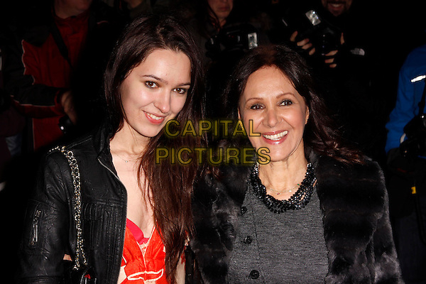 Abi Phillips & Arlene Phillips.The English National Ballet's Christmas performance of 'The Nutcracker' at the St Martins Lane Hotel, London, England..14th December 2011 .headshot portrait mother mom mum daughter family black grey gray leather jacket fur red.CAP/AH.©Adam Houghton/Capital Pictures.