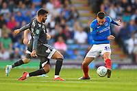 Ben Close of Portsmouth right under pressure from Agustín Medina of Birmingham City during Portsmouth vs Birmingham City, Caraboa Cup Football at Fratton Park on 6th August 2019