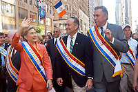 New York, NY - 6 Sept 03 -- Hillary Clinton, Chuck Schumer and John McLaughlin at the Labor Day Parade...© Stacy Walsh Rosenstock