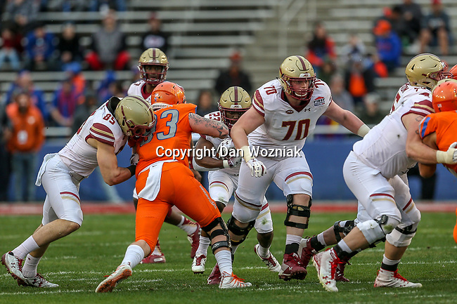 Boston College Eagles running back Travis Levy (23) in action during the Servpro First Responder Bowl game between Boise State Broncos and Boston College Eagles at the Cotton Bowl Stadium in Dallas, Texas.