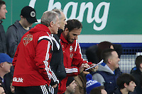 Swansea City Interim Manager / First Team Coach Alan Curtis and Swansea City Coach Gabriele Ambrosetti  discuss tactics with Swansea City Head Coach Francesco Guidolin during the Barclays Premier League match between Everton and Swansea City played at Goodison Park, Liverpool