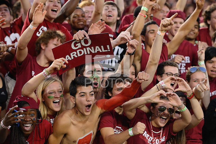 STANFORD, CA - SEPTEMBER 4: Fans of Stanford football celebrate at the game against the USC Trojans on October 9, 2010 at Stanford Stadium / Foster Field in Stanford, CA.  Stanford won 37-35.