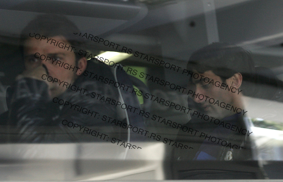 Fudbal Football Soocer.UEFA Europe League .Inter Milano dolazak na aerodrom Nikola Tesla.Diego Milito right.Beograd, 07.11.2012..foto: Srdjan Stevanovic/Starsportphoto ©