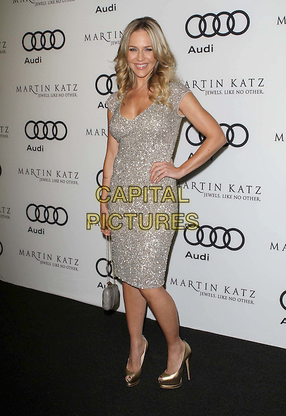 Julie Benz.Audi And Martin Katz Kick Off Golden Globes Week 2012 Held At Cecconi's Restaurant, West Hollywood, California, USA..January 8th, 2012.full length dress hand on hip gold shoes silver sequins sequined smiling embellished jewel encrusted .CAP/ADM/KB.©Kevan Brooks/AdMedia/Capital Pictures.