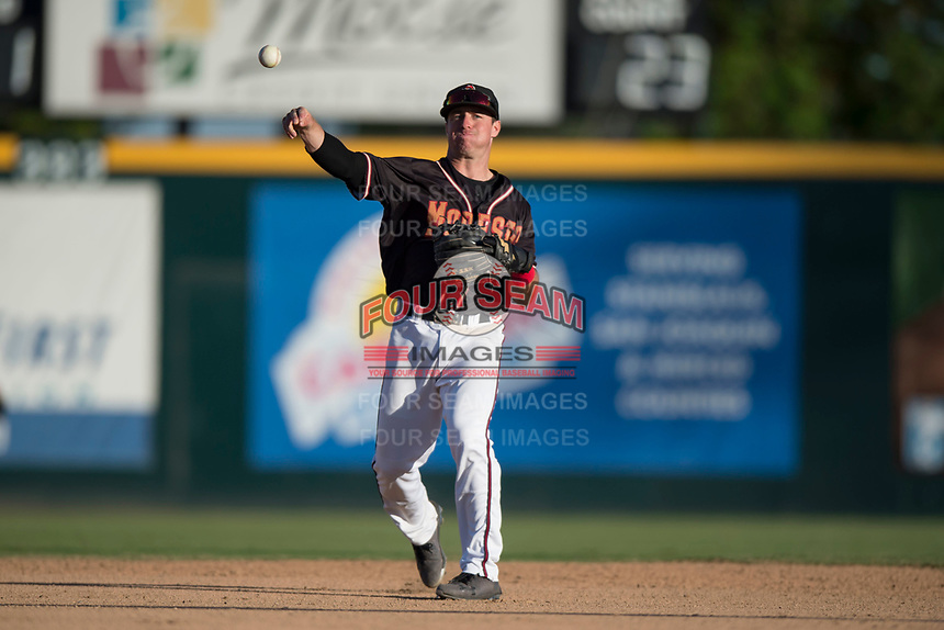 Modesto Nuts second baseman Donnie Walton (7) warms up between innings of a California League game against the San Jose Giants at John Thurman Field on May 9, 2018 in Modesto, California. San Jose defeated Modesto 9-5. (Zachary Lucy/Four Seam Images)