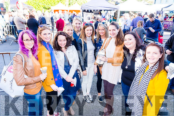 Pictured at Dingle Food Festival on Saturday last were l-r: Martina Molyneaux, Catherine Flynn, Christina Dillon, Ann Marie O'Connor and Stephanie O'Halloran (Listowel) with Sinead Dillon and Stephanie Lynch (Lisselton) Karen O'Sullivan (Finuge, celebrating her 30th birthday) Brenda Mulvihill (Tralee) and Jennifer O'Connell (Listowel).