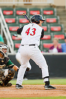 Kannapolis Intimidators designated hitter Brent Tanner (43) at bat against the Greensboro Grasshoppers at CMC-Northeast Stadium on July 12, 2013 in Kannapolis, North Carolina.  The Grasshoppers defeated the Intimidators 2-1.   (Brian Westerholt/Four Seam Images)