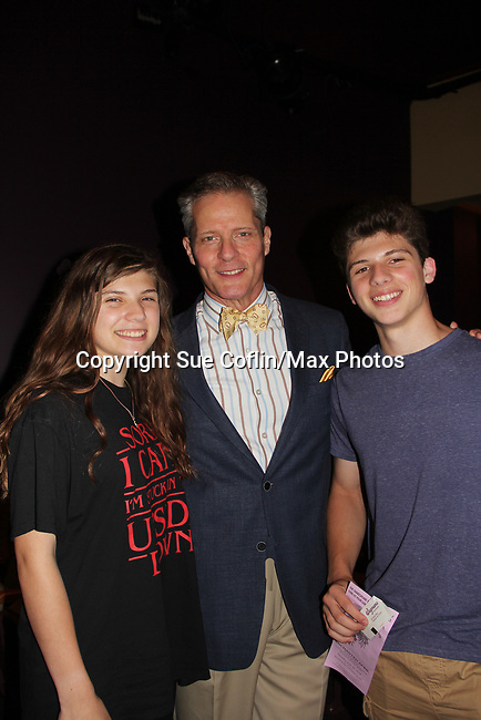 """Guiding Light's David Andrew MacDonald  poses with his children Elena and Ian as he stars in """"Enchanted April"""" presented by The Shakespeare Theatre of New Jersey on June 30, 2018 at the F.M. Kirby Shakespeare Theatre in Madison, New Jersey. (Photo by Sue Coflin/Max Photo)"""