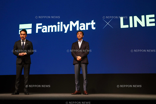 June 15, 2017, Tokyo, Japan - Japanese convenience store chain Familymart president Takashi Sawada (R) and Japan's SNS giant LINE president Takeshi Idezawa speak at the LINE conference 2017 in Tokyo on Thursday, June 15, 2017. LINE and Familymart announced that they would collaborate to produce the next generation convenience store using LINE's AI platform Clova. (Photo by Yoshio Tsunoda/AFLO) LwX -ytd-