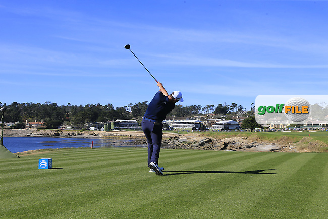 Jon Rahm (ESP) tees off the 18th tee at Pebble Beach course during Friday's Round 2 of the 2018 AT&amp;T Pebble Beach Pro-Am, held over 3 courses Pebble Beach, Spyglass Hill and Monterey, California, USA. 9th February 2018.<br /> Picture: Eoin Clarke | Golffile<br /> <br /> <br /> All photos usage must carry mandatory copyright credit (&copy; Golffile | Eoin Clarke)