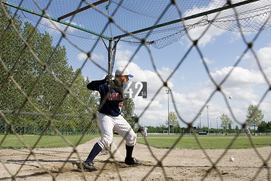 30 April 2008: David Gauthier of France takes batting practice during the first of seven 2008 MLB European Academy Try-out Sessions throughout Europe, at Stade Kandy Nelson Ball Park, in Toulouse, France. Try-out sessions are run by members of the Major League Baseball Scouting Bureau with assistance from MLBI staff.