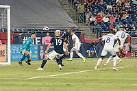 FOXBOROUGH, MA - JULY 27:  Tesho Akindele #13 scores the Orlando goal at Gillette Stadium on July 27, 2019 in Foxborough, Massachusetts.