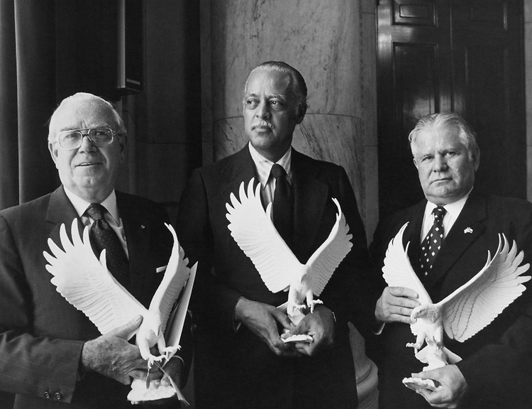 Rep. Olin E. Teague, D-Tex., with others holding eagle souvenirs in 1975. (Photo by Dev O'Neill/CQ Roll Call)