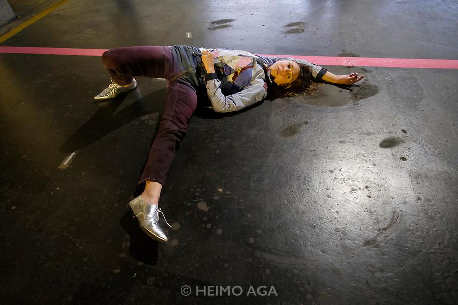 Kassel, Germany. Opening days of documenta14.<br /> Neue Neue Galerie.<br /> Irena Haiduk: Spinal Discipline (performance)