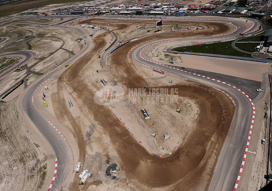 Jun. 26, 2010; Tooele, UT USA; Aerial view of the dirt track set up at Miller Motorsports Park during LOORRS qualifying for round seven. Mandatory Credit: Mark J. Rebilas-US PRESSWIRE