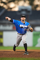 Hudson Valley Renegades relief pitcher Brandon Lawson (29) during a game against the Batavia Muckdogs on August 2, 2016 at Dwyer Stadium in Batavia, New York.  Batavia defeated Hudson Valley 2-1.  (Mike Janes/Four Seam Images)