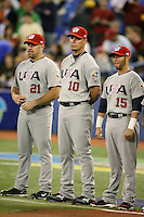 March 8, 2009:  Kevin Youkilis (21), Chipper Jones (10), and Dustin Pedroia (15) of Team USA during the first round of the World Baseball Classic at the Rogers Centre in Toronto, Ontario, Canada.  Team USA defeated Venezuela  15-6 to secure a spot in the second round of the tournament.  Photo by:  Mike Janes/Four Seam Images