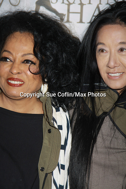 Diana Ross (of the Supremes) and Vera Wang  at the 2012 Skating with the Stars - a benefit gala for Figure Skating in Harlem celebrating 15 years on April 2, 2012 at Central Park's Wollman Rink, New York City, New York.  (Photo by Sue Coflin/Max Photos)