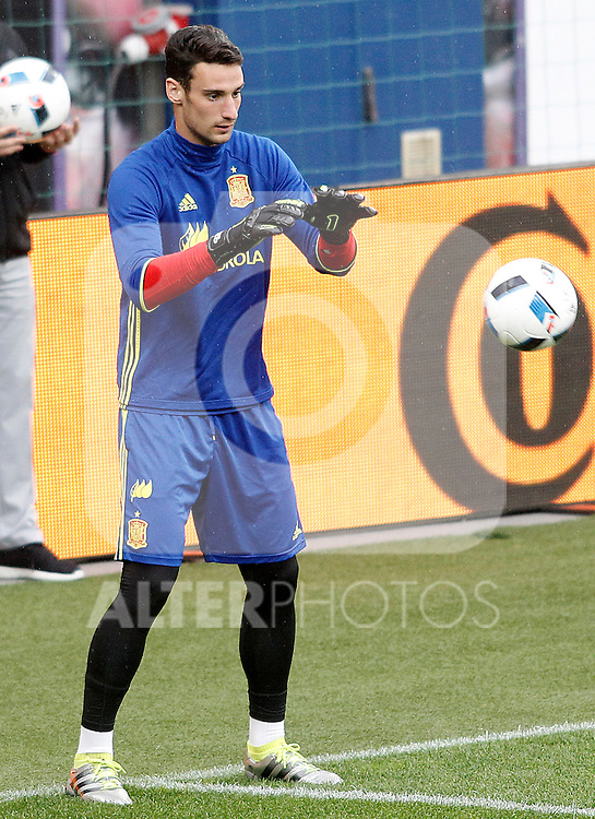 Spain's Sergio Rico during training session previous friendly match. May 31,2016.(ALTERPHOTOS/Acero)