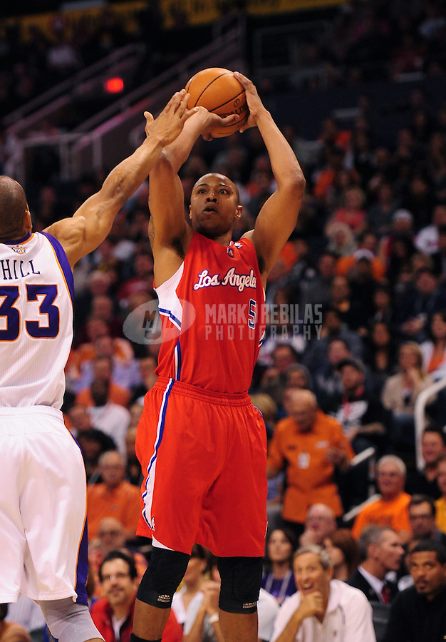 Mar. 2, 2012; Phoenix, AZ, USA; Los Angeles Clippers forward Caron Butler takes a shot during game against the Phoenix Suns at the US Airways Center. The Suns defeated the Clippers 81-78. Mandatory Credit: Mark J. Rebilas-USA TODAY Sports
