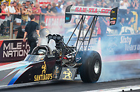 Jul 20, 2018; Morrison, CO, USA; NHRA top fuel driver Greg Carrillo during qualifying for the Mile High Nationals at Bandimere Speedway. Mandatory Credit: Mark J. Rebilas-USA TODAY Sports