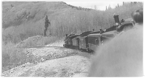 Rocky Mountain Railroad Club RGS excursiion train being pulled by leased D&amp;RGW C-18 #319 at second curve below Matterhorn.<br /> RGS  Matterhorn, CO  Taken by Maxwell, John W. - 5/31/1947