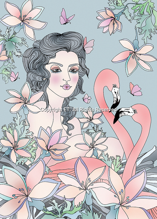 Young woman, flamingos, butterflies and flowers ExclusiveImage