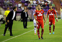 Getafe's coach Luis Garcia (l) and Pedro Leon (c) during La Liga match.August 31,2013. (ALTERPHOTOS/Victor Blanco)