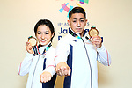 (L-R) <br />  Kiyou Shimizu, <br />  Ryo Kiyuna (JPN), <br /> AUGUST 25, 2018 - Karate : <br /> Men's Individual Kata Medal Ceremony <br /> at Jakarta Convention Center Plenary Hall <br /> during the 2018 Jakarta Palembang Asian Games <br /> in Jakarta, Indonesia. <br /> (Photo by Naoki Nishimura/AFLO SPORT)