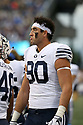 SEATTLE, WA - September 29:  BYU's Corbin Kaufusi against Washington during the college football game between the Washington Huskies and the BYU Cougars on September 29, 2018 at Husky Stadium in Seattle, WA. Washington won 27-20 over BYU.