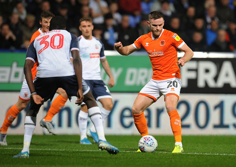 Blackpool's Oliver Turton<br /> <br /> Photographer Kevin Barnes/CameraSport<br /> <br /> The EFL Sky Bet League One - Bolton Wanderers v Blackpool - Monday 7th October 2019 - University of Bolton Stadium - Bolton<br /> <br /> World Copyright © 2019 CameraSport. All rights reserved. 43 Linden Ave. Countesthorpe. Leicester. England. LE8 5PG - Tel: +44 (0) 116 277 4147 - admin@camerasport.com - www.camerasport.com