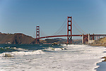 San Francisco: Baker Beach with Golden Gate Bridge in background.  Photo # 2-casanf83313.  Photo copyright Lee Foster