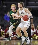 SIOUX FALLS, SD: MARCH 4: Sarah Jacobson #12 of North Dakota State reaches on Jenna Gunn #32 of IUPUI on March 4, 2017 during the Summit League Basketball Championship at the Denny Sanford Premier Center in Sioux Falls, SD. (Photo by Dick Carlson/Inertia)