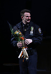 Chrois Evans during the the Broadway Opening Night Performance curtain call for 'Lobby Hero' at The Hayes Theatre on March 26, 2018 in New York City.