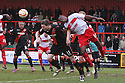 Lucas Akins of Stevenage and Kevin McDonald of Sheffield United challenge for a header. Stevenage v Sheffield United - npower League 1 -  Lamex Stadium, Stevenage - 16th March, 2013. © Kevin Coleman 2013.. . . .